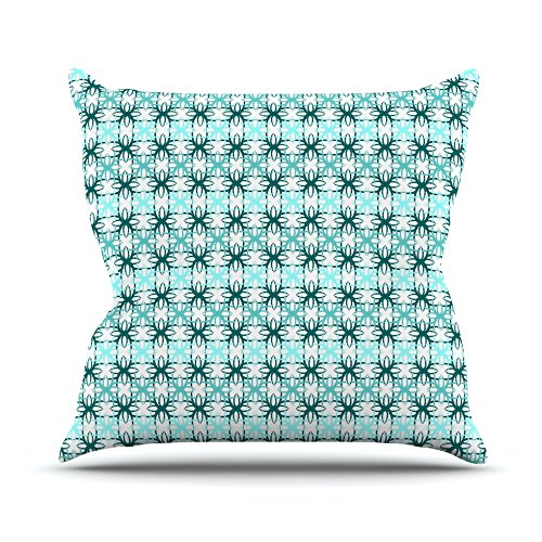 Kess InHouse Nandita Singh Blue Motifs Throw Pillow Aqua Geometric 18 x 18
