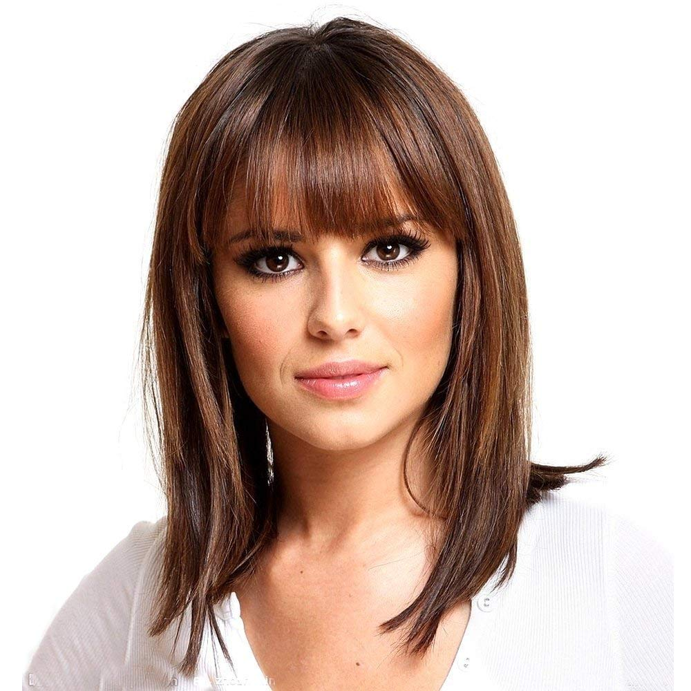 Haircube Long Brown Bob Wigs Auburn Highlight Wigs Medium Length Wigs For Women Human Hair Wigs Blend Healthy Synthetic 16 Inch Wigs With Bangs Beauty