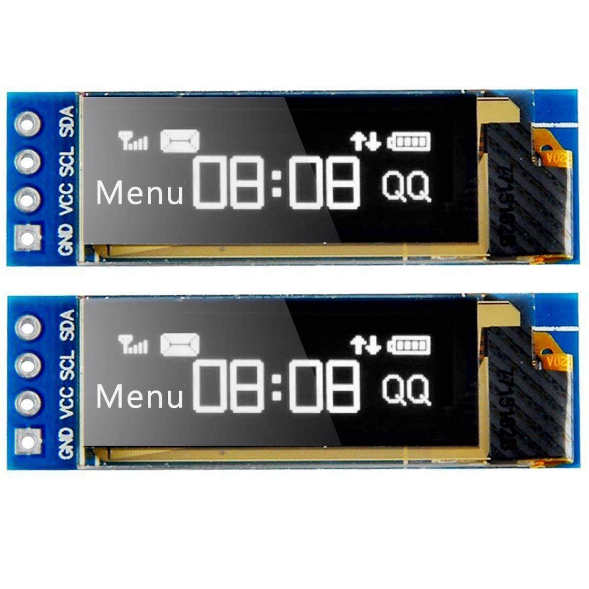 MakerFocus 2pcs I2C OLED Display Module 0 91 Inch I2C SSD1306 OLED Display  Module White I2C OLED Screen Driver DC 3 3V~5V for Arduino
