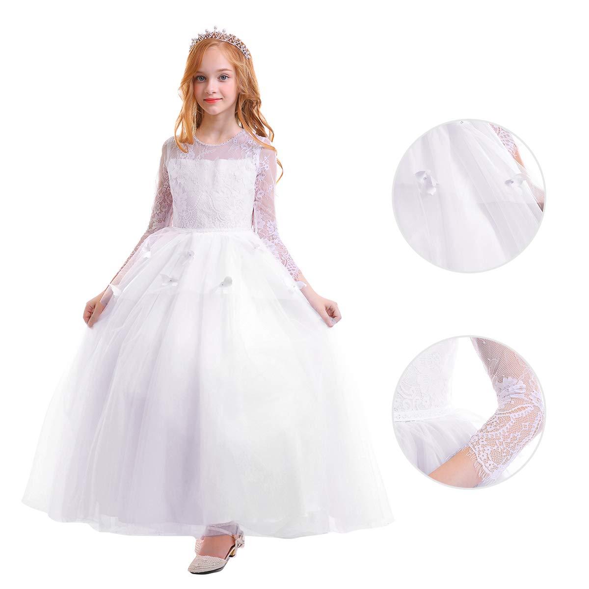 Amazon.com: FYMNSI - Vestido de encaje para niña, de manga ...