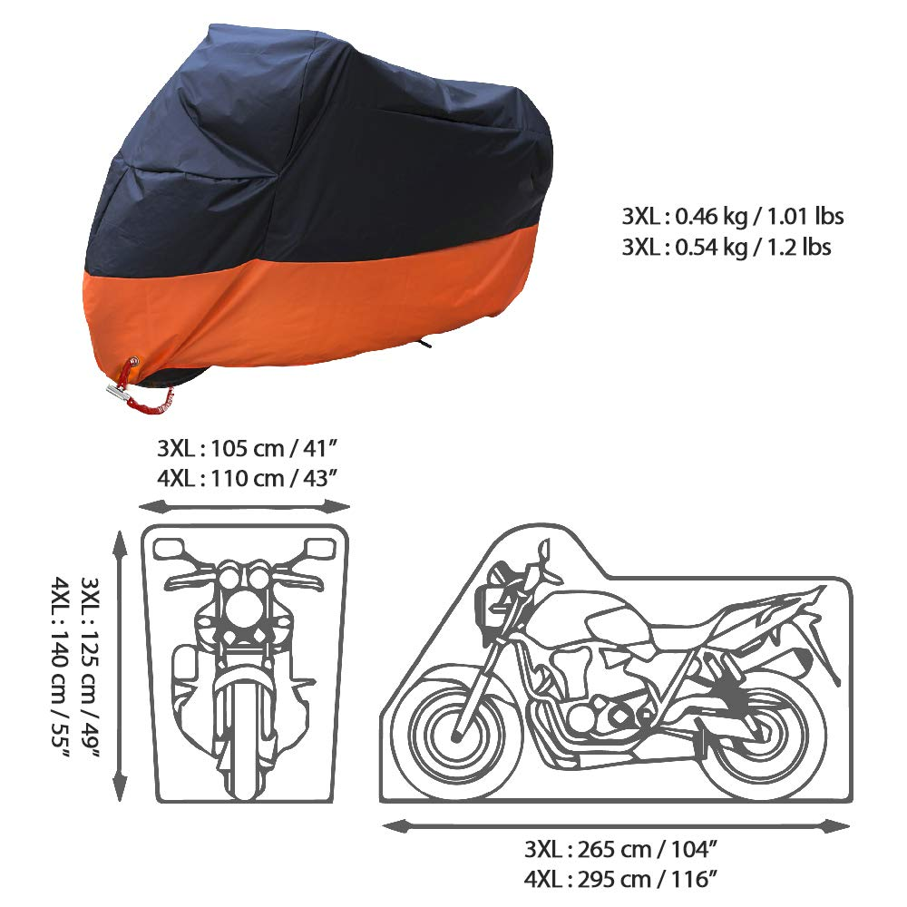 Acelane Motorradabdeckungen Motorrad Cover Wasserdicht die ganze Saison /über passt zu Harley Davison Kawasaki Street Glide Touring Suzuki Yamaha Honda Lockholes
