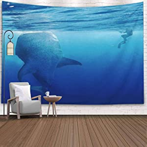 KIOAO Tapestry Wall Art Dorm Tapestry,Tapestry for Women College Tapestry Whale Sharks Blue Waters Mexico Isla Mujeres Dorm Room Tapestry 80X60Inch Tapestry for Man