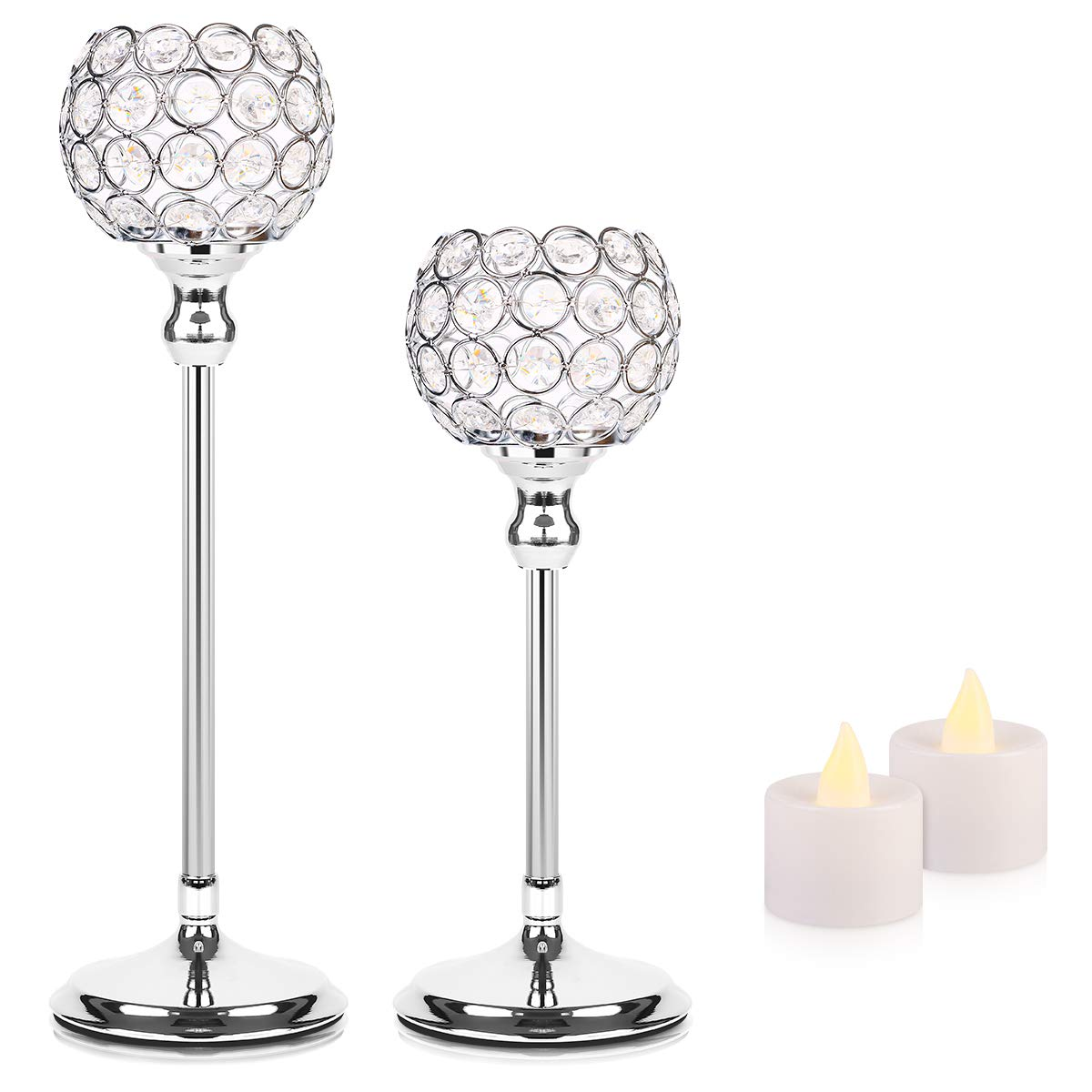 Manvi Crystal Candle Holders Centerpieces, Silver Candlesticks Holders Set of 2 for Wedding Valentines Day Table Decorations,Thanksgiving Housewarming Gifts