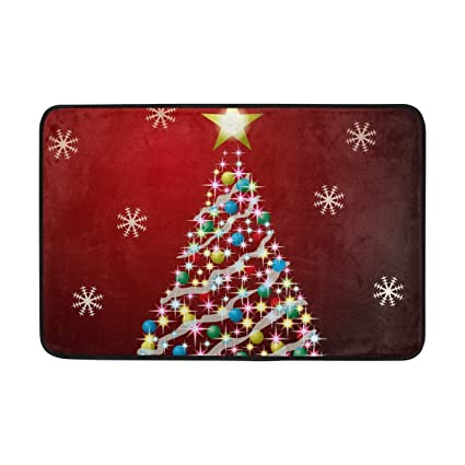 e00631b0 WIHVE Christmas Tree Snowflake Area Rugs Unique Carpet Floor Mat Doormat  Entrace Mat Water-Repellent