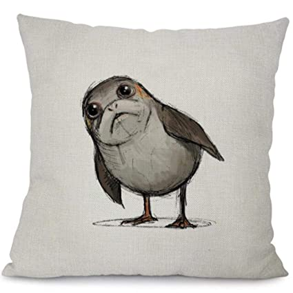 Awesome Amazon Com Tomtompro Porg Cushion Cover Cotton Linen Star Creativecarmelina Interior Chair Design Creativecarmelinacom