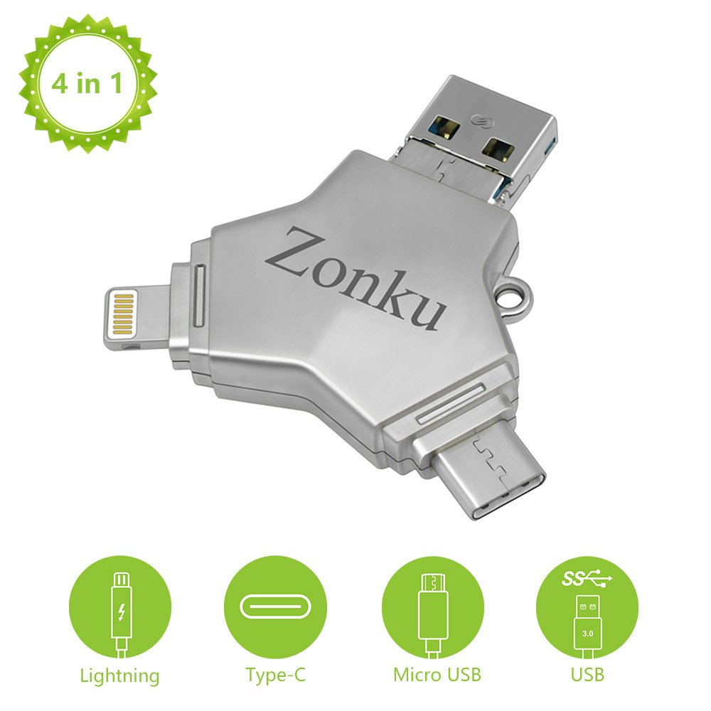 Zonku Flash Drive for iPhone iPad 32GB Lightning Type C Micro USB 3 0  External Storage Memory Stick Pen Adapter Expansion for Android Phone Apple  iOS