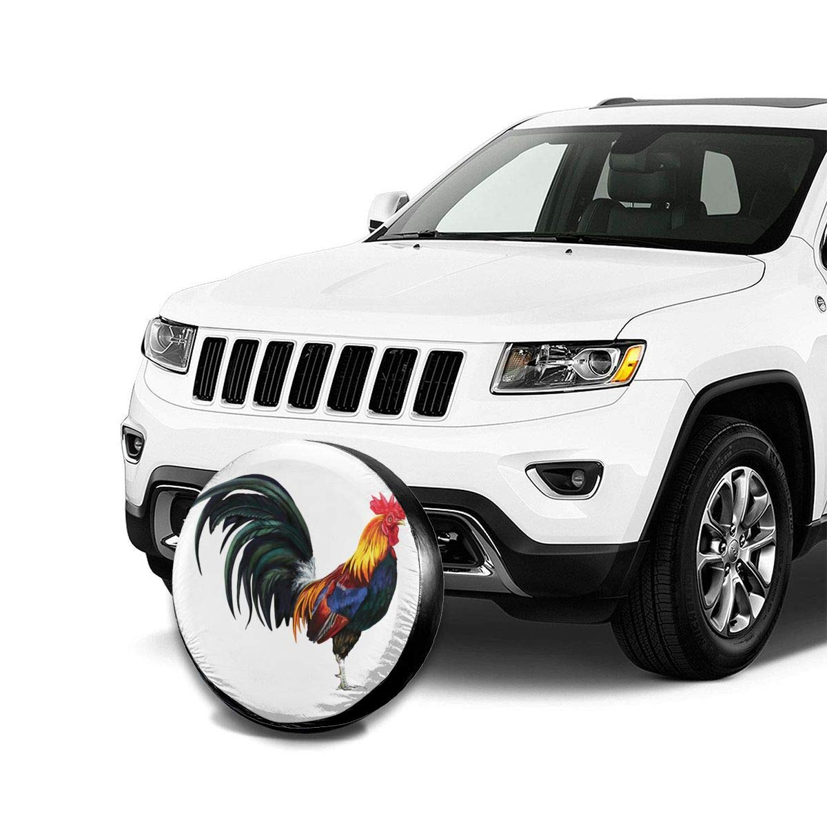 best/& Tire Cover Lifelike Rooster Chicken Polyester Universal Spare Wheel Tire Cover Wheel Covers Jeep Trailer RV SUV Truck Camper Travel Trailer Accessories 14 inch