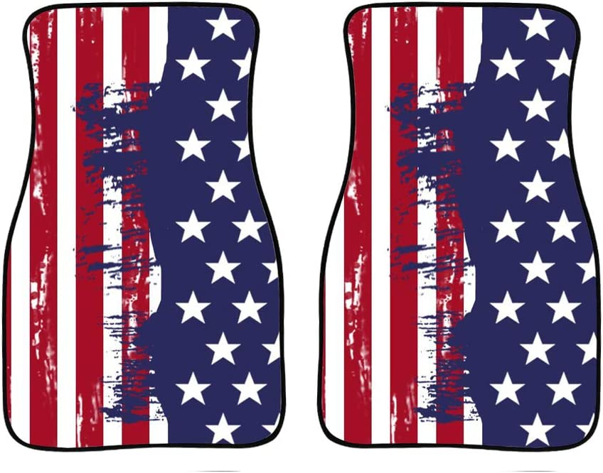 Showudesigns American Flag Car Floor Mat Front Set Non-Slip Carpet Mats Universal fit Most Sedan Car SUV Van 2 Piece All Weather Protection