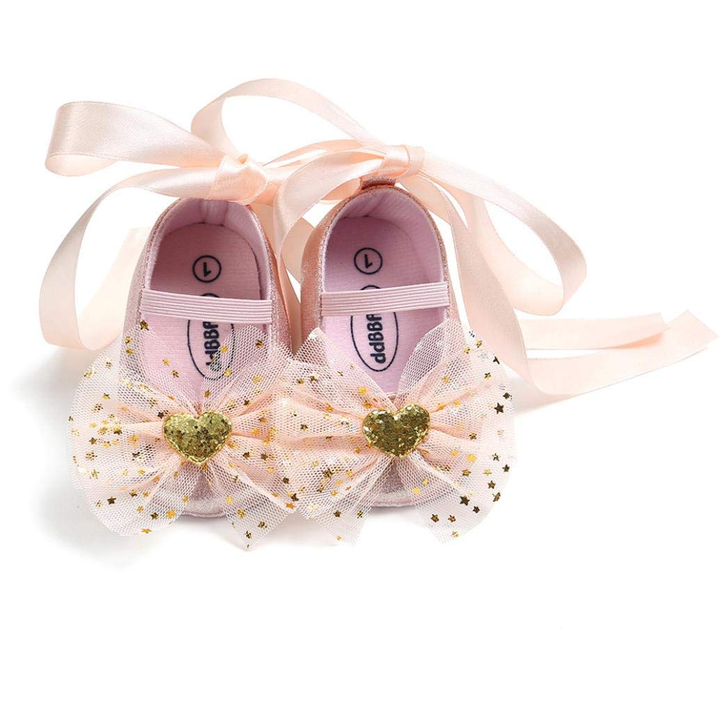 FreshZone Baby Girl Lace Bowknot Princess Shoes Bandage Newborn First Walkers Kid Shoes Lovely