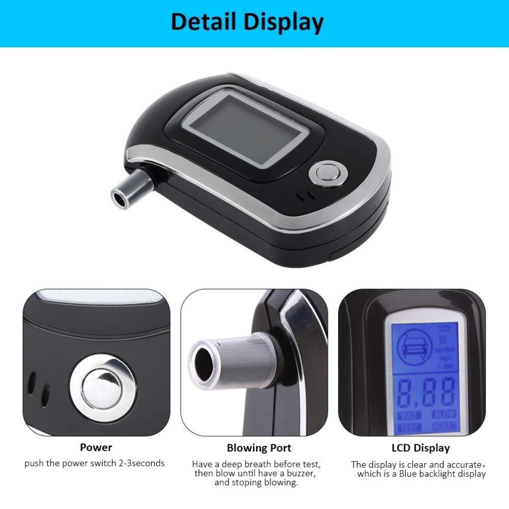iweed Etilometro Portatile Alcool Test Digitale Professionale con Schermo LCD Display Sensore Semiconduttore Bocchini 5 Pezzi