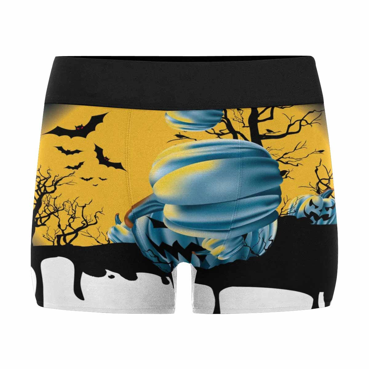 INTERESTPRINT Custom Mens All-Over Print Boxer Briefs Halloween with Full Moon Rising Over Desolate Pumpkin Patch XS-3XL