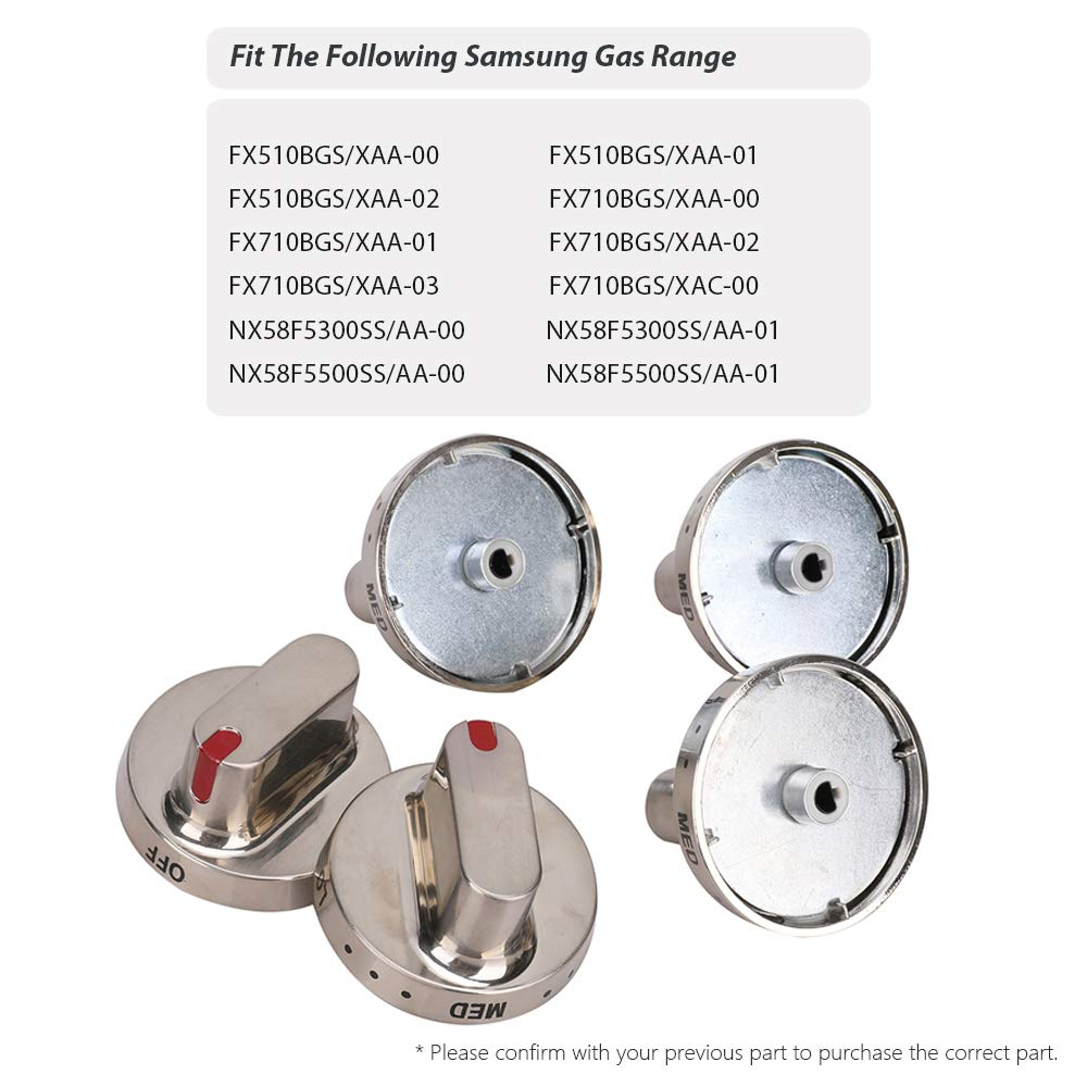 5 Pack DG64-00472A DG64-00347A Burner Knob Range Oven Dial Knobs replacement part Stainless Steel for Samsung FX510BGS FX710BGS NX58F5300SS NX58F5500SS Gas Range Replace 3447604 AP5949480 PS10058981