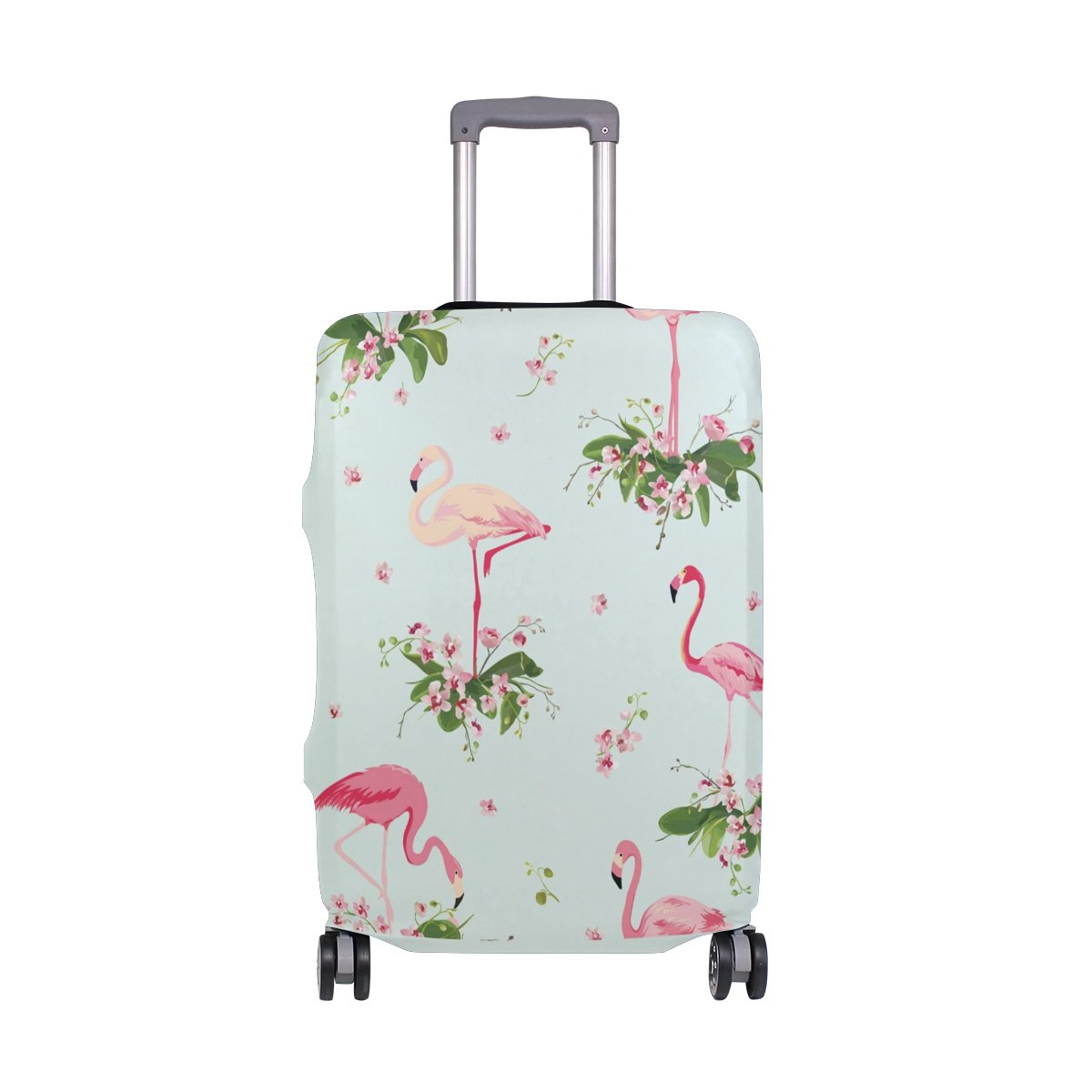 ZZKKO Summer Tropical Orchid Flowers Flamingo Travel Luggage Cover Suitcase Protector Bag - Fits 18-20 Inches Luggage