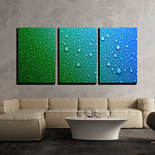 Blue Water Drops Background Texture x3 Panels