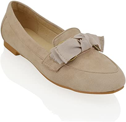 ESSEX GLAM New Womens Slip On Bow Loafers Ladies Casual Flat Faux Suede Pumps Shoes Size 3-8