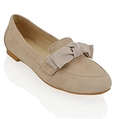 ef1e90a32bc ESSEX GLAM New Womens Slip On Bow Loafers Ladies Casual Flat Faux Suede Pumps  Shoes Size