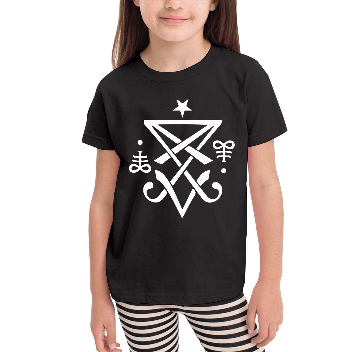 Kids T-Shirt Tops Black Occult Sigil of Lucifer Satanic Unisex Youths Short Sleeve T-Shirt