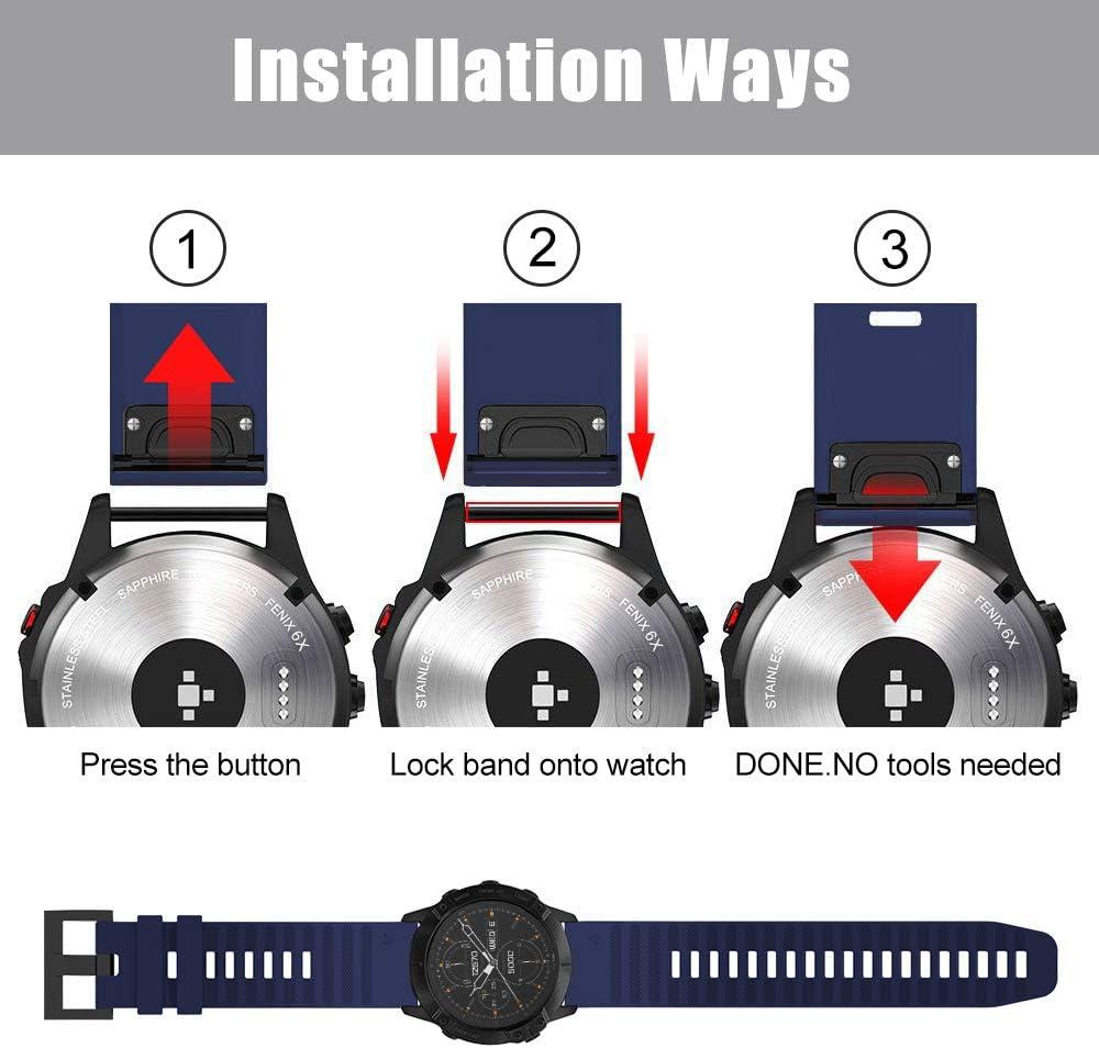 26mm Cinturino di Ricambio in Silicone Braccialetto Cinturino per Fenix 6X//Fenix 6X PRO//Fenix 6X Sapphire//Fenix 3//Fenix 3 HR//Fenix 5X//Fenix 5X Plus TOPsic Cinturino Fenix 6X