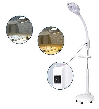 16X LED Lámpara de lupa Regulación ajustable para el cuidado de la piel Belleza Manicure Tattoo Salon SPA con soporte de piso rodante blanco,3: Amazon.es: ...