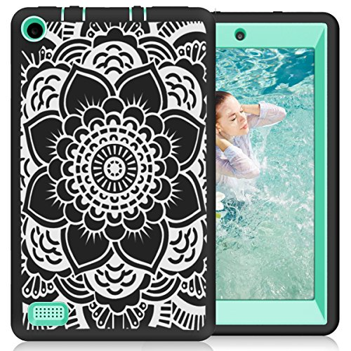 Hocase Fire 7 2017 Case Shockproof Anti-Scratch Hybrid Dual Layer Silicone Bumper Protective Case with Cute Mandala Flower for All-New Fire 7 Tablet (7th Generation, 2017 Release) - Black / Teal (Kindle Fire Best Selling Tablet)