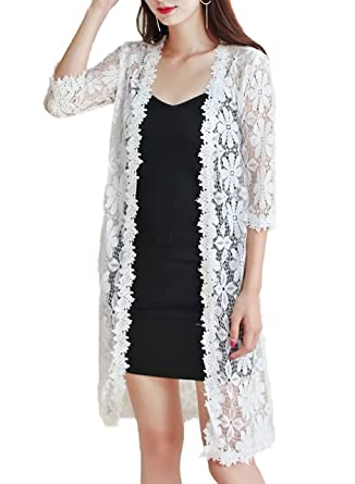 Ts Store Womens Long Embroidered Floral Lace Cardigan With Half