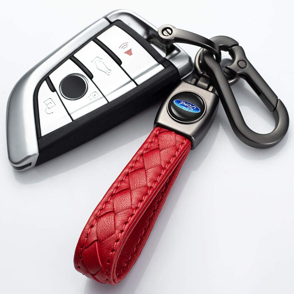 red YANGYI Genuine Leather Key Chain Suit for Audi A1 A3 A4 A5 A6 A7 A8 Q5 Q7 R8 S5 S7 Q5 RS Keychain Keyring Family Present for Man and Woman