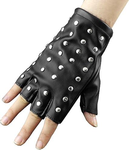 Punk Rocker Fingerless Black Studs Gloves Mens Womens Fancy Dress Accessory