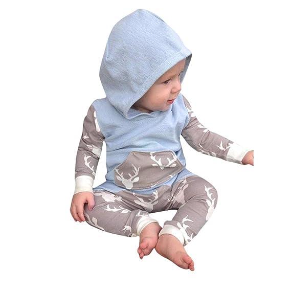 Ropa para Bebe Otoño e Invierno, 🍀 BBestseller Pijama Bebe Camisa bebé niño niña Ciervos con Capucha Tops + Pantalones Trajes Ropa Conjunto Manga Larga ...