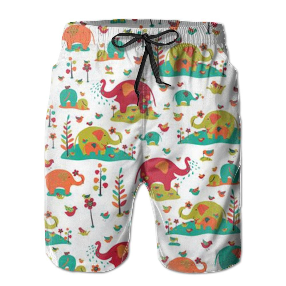 QYKKJF Mens Colorful Pattern Summer Holiday Quick-Drying Swim Trunks Beach Shorts Board Shorts