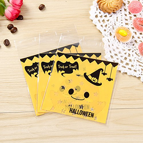 Saasiiyo New 50 Pcs 6style Halloween Yellow pumpkin Gifts Bags Plastic Clear DIY Candy Cookies Birthday Party Craft Bags Packaging (Halloween Costumes Nyc Rent)