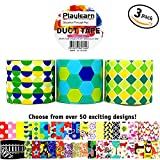 cool duct tape - Design Duct Tape 48mm x 16 Feet - Kids Fun Extra Strong Printed Arts & Crafts Multi Pack - By Playlearn (Hexagon Abstract)