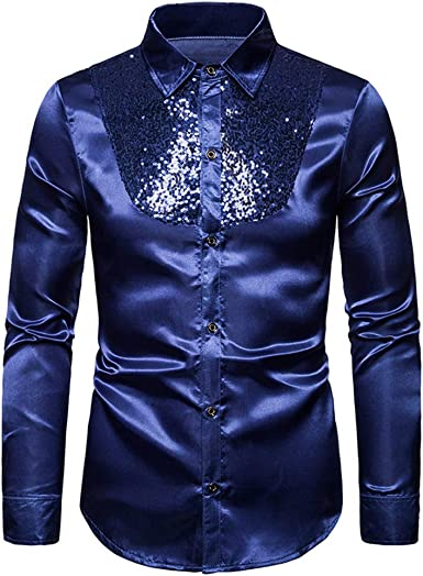 Puimentiua Camisa de Raso de Seda con Lentejuelas para Hombre Camiseta de Vestir de Manga Larga Slim Fit S-2XL: Amazon.es: Ropa y accesorios
