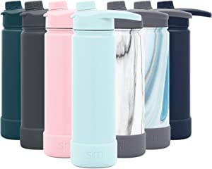 Simple Modern 22 Ounce Summit Water Bottle with Chug Lid & Protective Boot - Hydro Vacuum Insulated Flask 18/8 Stainless -Seaside