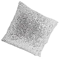 Elegante y cómodo color liso lentejuelas funda de cojín Throw Pillow Case Cafe Decor (Silver-1)