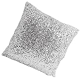 Stylish Comfy Solid Color Sequins Cushion Cover Throw Pillow Case Cafe Decor (Silver-1)