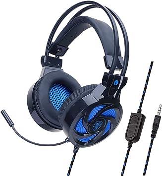 YOUPECK - Auriculares con micrófono para PS4, Xbox One, Nintendo Switch, PC, PS3, Mac, Ordenador portátil, Auriculares para PS4, Xbox One Negro Negro-Azul: Amazon.es: Electrónica