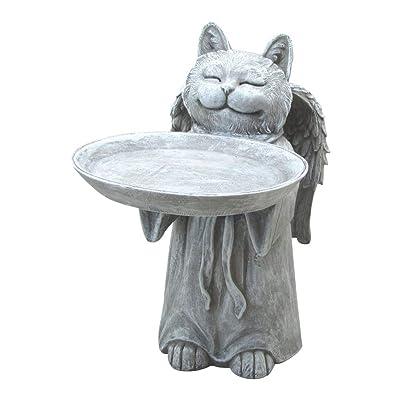 Comfy Hour Resin Memorial Cat Angel Birdfeeder Pet Statue, Handmade, Faithful Memory of Cat's Bereavement: Home & Kitchen