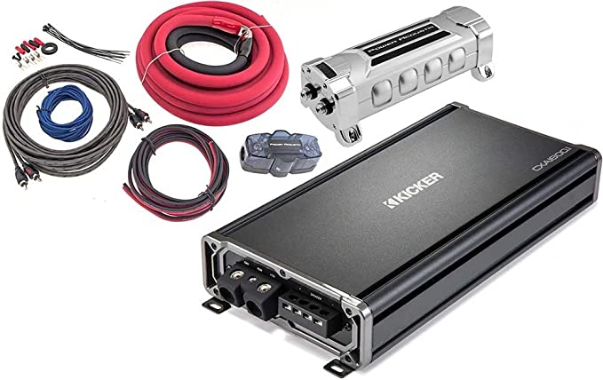 Amazon.com: Kicker Bundle of 3 Items 43CXA1800.1 CX Series Mono Car Amplifier w/Power Acoustik AK-0 0 Gauge Complete Kit + PCX-3F 3F Digital Capacitor: ...