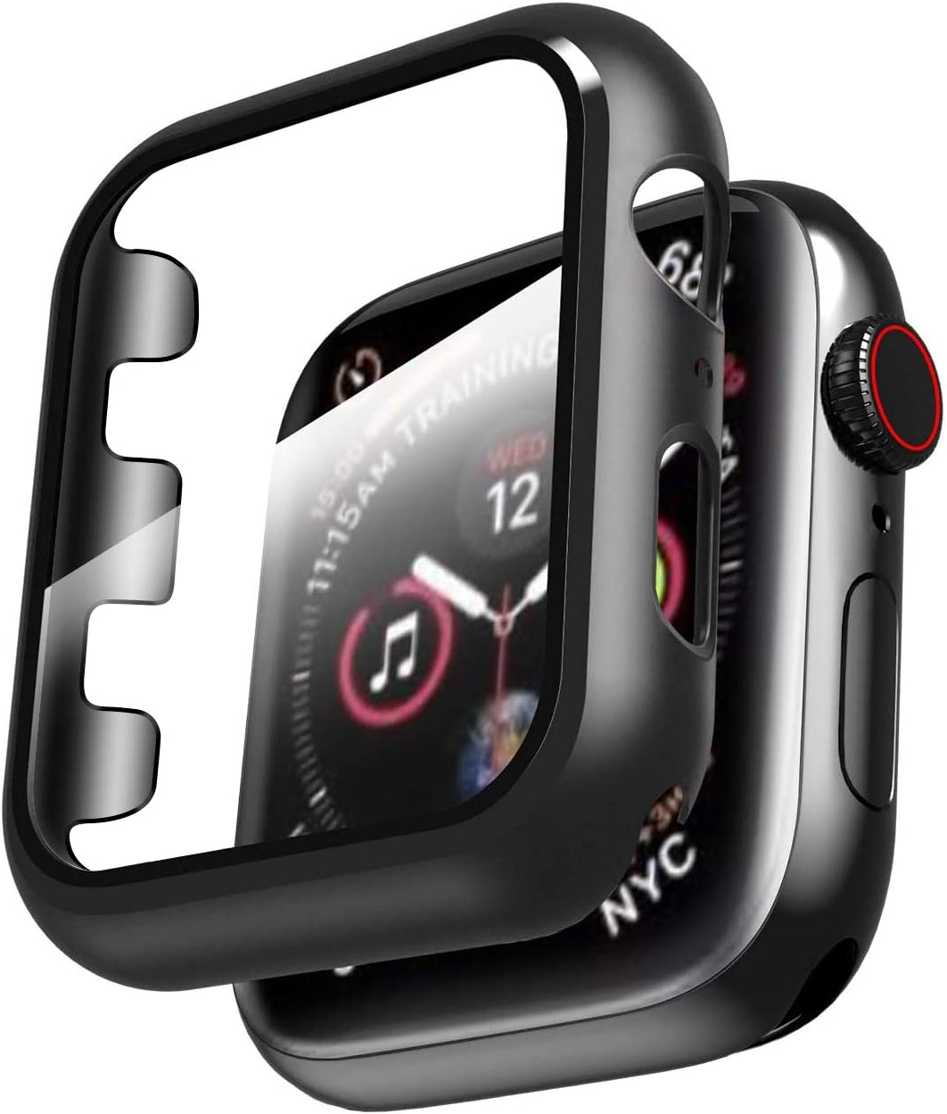 Smiling Case for Apple Watch Series 3 & Series 2 42mm with Buit in Tempered Glass Screen Protector- All Around Hard PC Protective Case High Definition Clear Ultra-Thin Cover for iwatch (Black, 42mm)