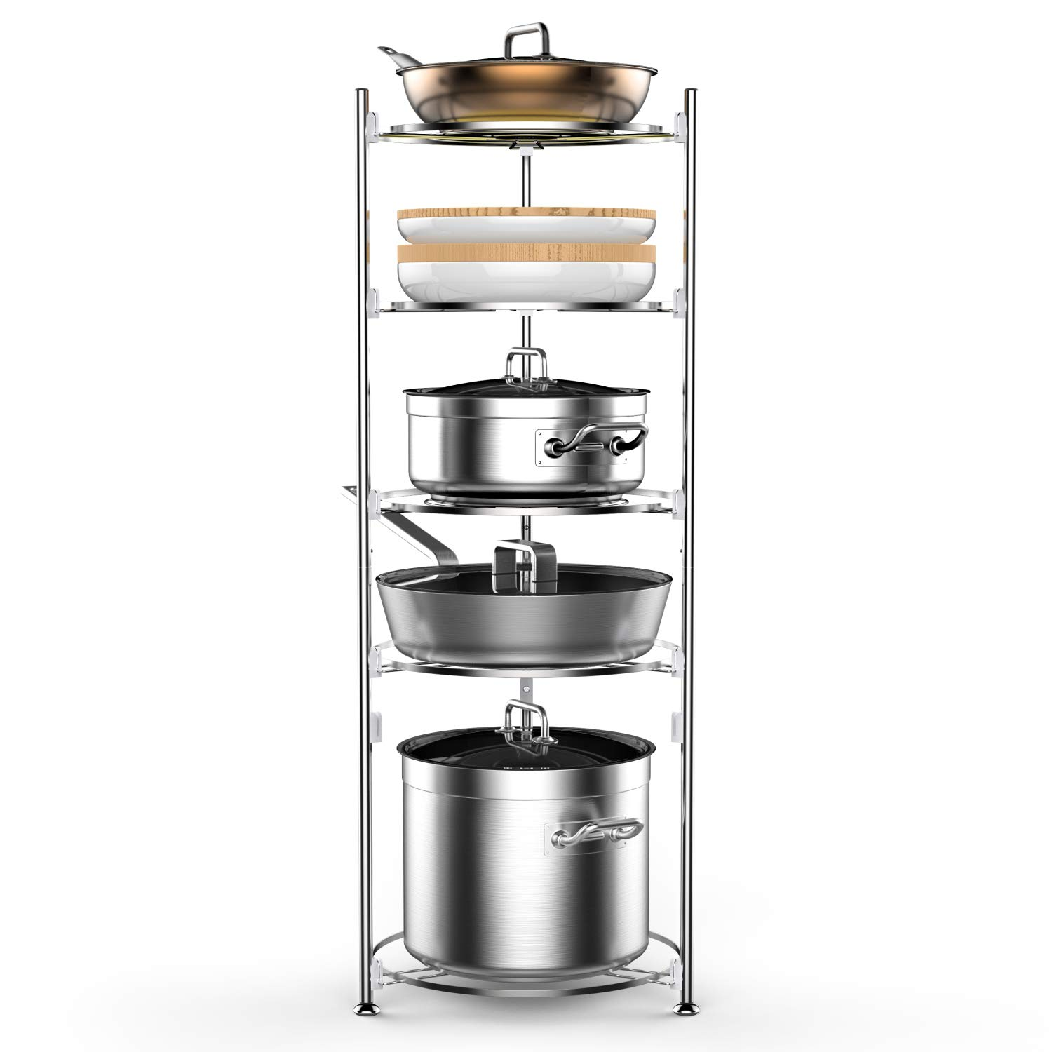 Pot and Pan Organizer, Lifinity 5-Tier Pot Rack Heavy Duty Cookware Stand for Kitchen Organization and Storage Free-Standing Kitchen Organizer for Pot and Pan, Stainless Steel (38.6''Tall)