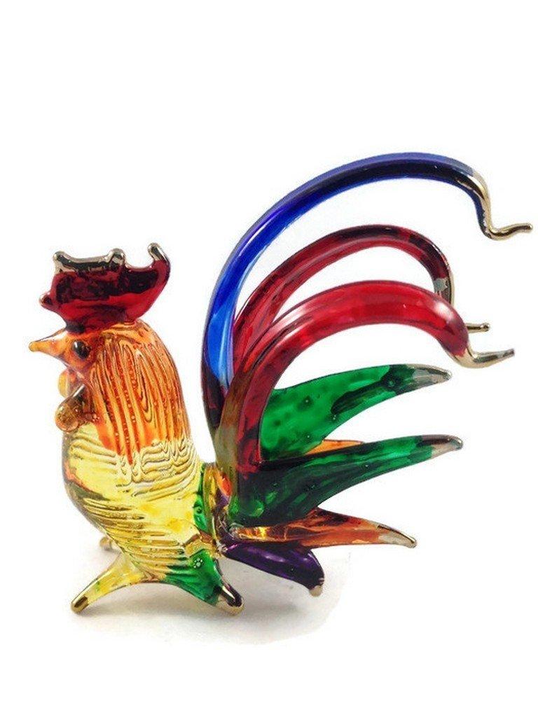 TINY CRYSTAL Chicken HAND BLOWN CLEAR GLASS ART Hen FIGURINE ANIMALS COLLECTION GLASS BLOWN #002