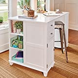 Palos Designs Project Center Desk with 2 Sides for Multple Storage Options - By (White)