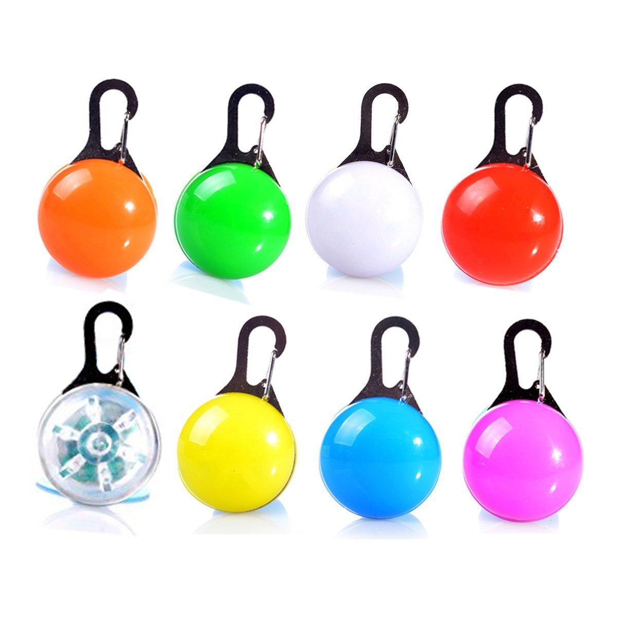 Saim High Visibility Clip-on LED Safety Light Keychain for Dog Collar, Pack of 8