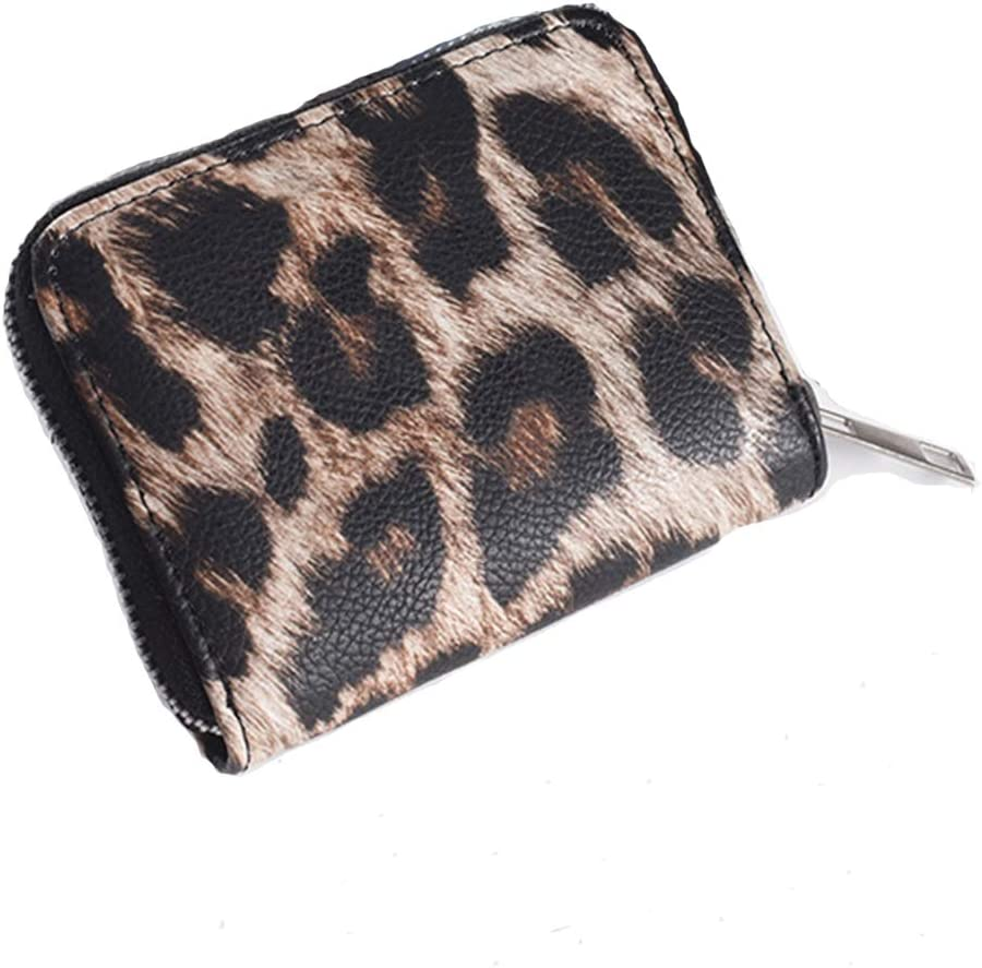 QUARKERA Leopard Print Wallets for Women Cheetah Animal Print Wallet and Purse Leather Zipper Closure Card Slots Small