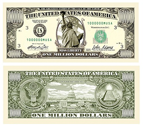 American Art Classics Million Dollar Bill Notes - Statue of Liberty - Pack of 100
