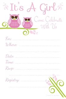 Amazon cute owl tree baby shower invitations toys games owl baby shower invitations its a girl fill in style 20 count filmwisefo