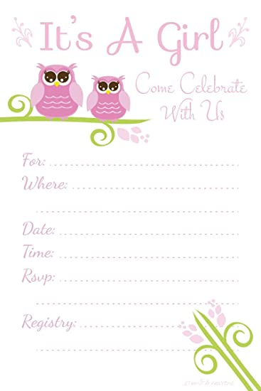 Owl Baby Shower Invitations U0026quot;Itu0027s A Girlu0026quot;   Fill In Style (20