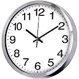 Wall Clock Metal Frame Glass Cover Non-Ticking Number Quartz Wall Clock 12inch Modern Quartz Design Decorative Indoor…