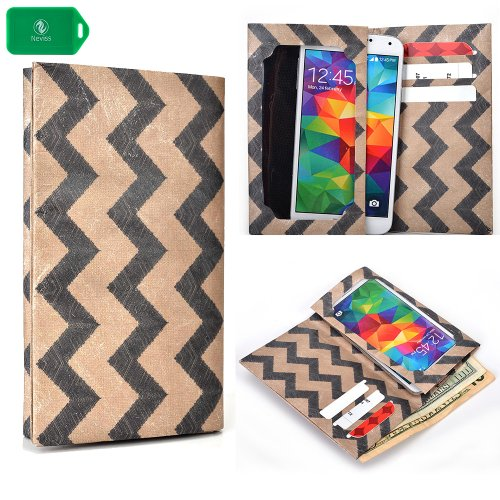 Eco Friendly TYVEK paper wallet phone holder w/ touch responsive view window in a BLACK AND TAN CHEVRON PATTERN- UNIVERSAL FIT for Samsung I9500 Galaxy S4