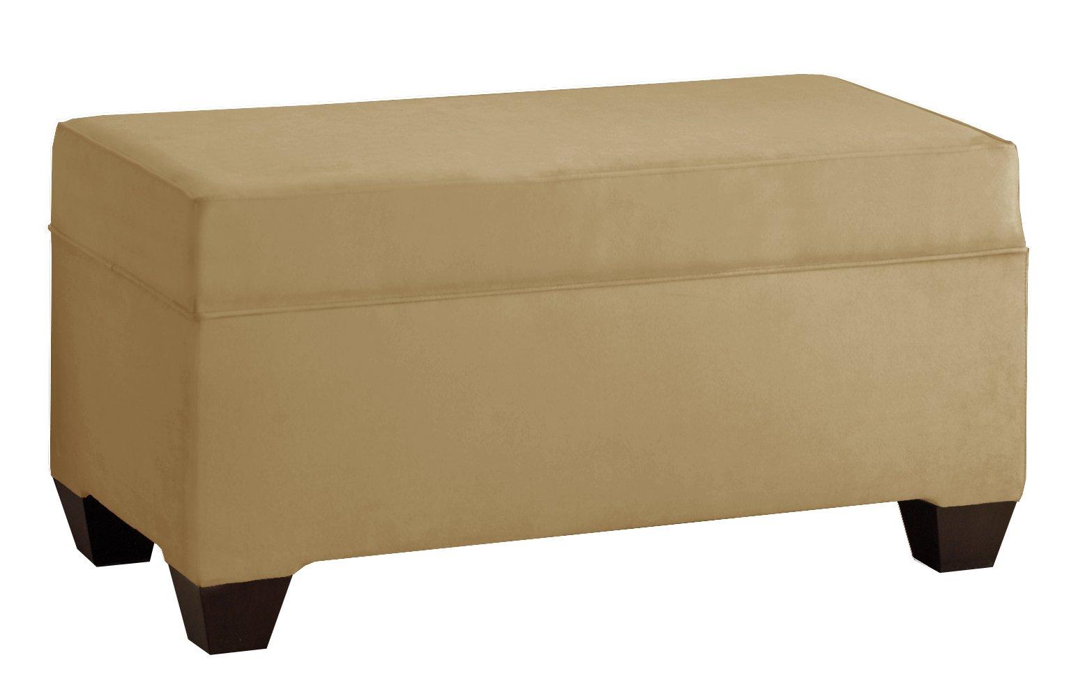 Skyline Furniture Velvet Upholstered Storage Bench, Honey